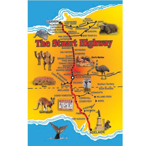 Map Of Australia Highways.Stuart Highway Map Sticker South Australian Souvenirs